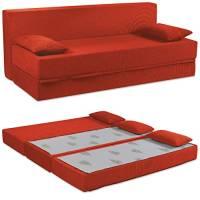 Baldiflex Divano Letto 3 Posti Modello Tetris in Poliuretano Rivestimento Sfoderabile e Lavabile, Colore Rosso Cardinale