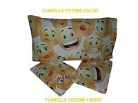 DEMONA Lenzuola Completo Letto Singolo in Flanella Cotone Caldo Smile FACCINE Vari Colori Offerta Inverno Autunno (Flanella-ILS1)