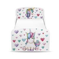 Leomark Letto Lettino per Bambini in Legno e Materasso Magnifiche Stampe Dimensioni 140x70 Colore Bianco Unicorno Cavallo Cuori