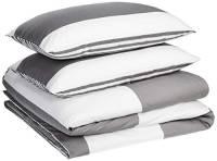 AmazonBasics - Set con copripiumino in microfibra di prima qualità, 260 x 220 cm / 50 x 80 cm, grigio a righe (grey cabana)