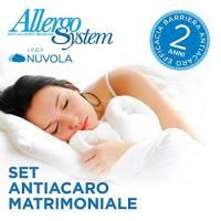 Allergosystem Set Antiacaro Composto da coprimaterasso con Cerniera per Letto Matrimoniale, 170x200x20cm e 2 copricuscino, 50x80cm, 100% Polipropilene