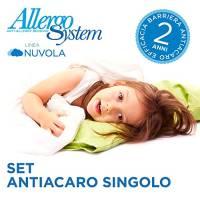 Allergosystem Set Antiacaro Composto da coprimaterasso con Cerniera per Letto Singolo, 90x200x20cm e copricuscino, 50x80cm, 100% Polipropilene