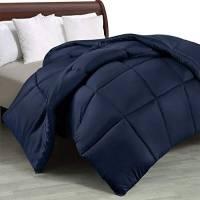 Utopia Bedding Piumone Piumino, Anallergico, 100% Microfibra in Fibra Cava (Blu Navy, 220 x 240 cm)