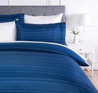 AmazonBasics - Set copripiumino in microfibra,  135 x 200 cm, Blu reale a strisce (Royal Blue Calvin Stripe)