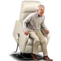 BAKAJI Poltrona Alzapersona Elettrica Motorizzata Reclinabile in Similpelle Ecopelle con Tasca Porta Telecomando per Anziani e Persone Disabili (Crema)