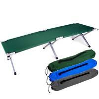 Brandina militare pieghevole in alluminio, ideale per campeggio e come letto per gli ospiti, verde, 195 x 65 x 45 cm