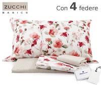 ZUCCHI Completo Lenzuolo Matrimoniale Zucchi Articolo Flowery con Quattro federe + tavoletta Profumo Biancheria per armadi by biancocasa