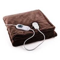 Klarstein Dr. Watson XXL - coperta elettrica, scaldaletto, termocoperta, 3 regolazioni, timer, 200 x 180 cm, protezione surriscaldamento, adatto a lavatrice, pile, marrone