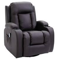 homcom Poltrona Massaggiante Riscaldante Reclinabile in Similpelle Marrone con 8 Punti di Massaggio e Telecomando, 90x93x103cm