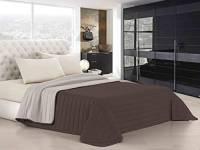 Italian Bed Linen Elegant Trapuntino Estivo, Microfibra, Marrone/Panna, Matrimoniale, 260 x 270 cm