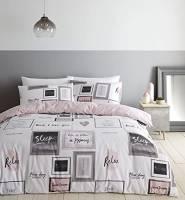 Catherine Lansfield Sleep Dreams - Set copripiumino per letto matrimoniale, facile da pulire, colore: Fard