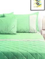Lenzuola matrimoniali completo Bassetti RUBY in puro cotone variante Verde