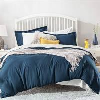 Bedsure Set Copripiumino Matrimoniali 240x220cm - Sacco Piumino Matrimoniale Tinta Unita in Microfibra, Set Copripiumini e Federe con Colore Blu Navy