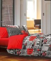 Biancheria Store Copripiumino 1 Piazza E Mezza Londra 100% Cotone Prodotto Italiano Rosso Grigio London -
