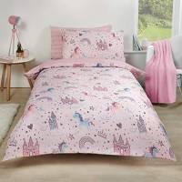 Dreamscene Unicorn Regno Copripiumino Set, Pink-Single, Policotone, Poliestere 50% Cotone, Blush