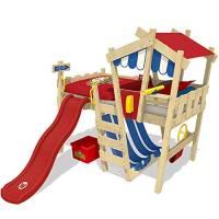 WICKEY Letto per bambini con scivolo CrAzY Hutty Letto a soppalco con tetto Letto Avventura con rete a doghe, rosso-blu + scivolo