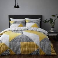 Catherine Lansfield Larsson Geo Easy Care - Set copripiumino per letto king size, colore: ocra