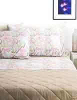 Lenzuola matrimoniali completo Bassetti Dream CLELIA in cotone variante Rosa