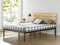 Zinus Paul Rete del letto in metallo e legno di pino con doghe di legno / Base del materasso/ Non sono necessarie le molle/ Supporto resistente in legno per letto/ Montaggio facile/ 140 x 190 cm