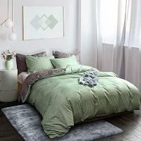 Fityou Set di biancheria da letto copripiumino in poliestere verde chiaro, 3 pezzi, copripiumino 200 x 200 cm con cerniera + 2 federe 50 x 80 cm, morbido e traspirante