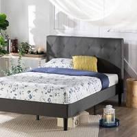 ZINUS Shalini 35 cm Telaio del letto a piattaforma imbottito | Base per materasso | Supporto per doghe in legno | Facile da montare | 120 x 190 cm | Grigio scuro