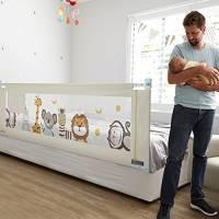 Fascol Barriera Letto Bambini, Sponda del Letto per Neonati Alzabile Verticalmente, Altezza Regolabile, 180 x 93 cm, Bianca