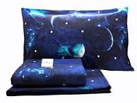 Riad Arredo Set Completo Letto Matrimoniale Planetario Luna e Stelle in Flanella 100% Caldo Cotone Antipalline - Completo Lenzuola 2 Piazze Morbide - Made In Italy