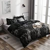 Set biancheria da letto, Copripiumino, Federa, Set Casa Tre Pezzi, Set di lenzuola e federe per camera da letto con motivo in marmo 3 pezzi/set (marmo nero)